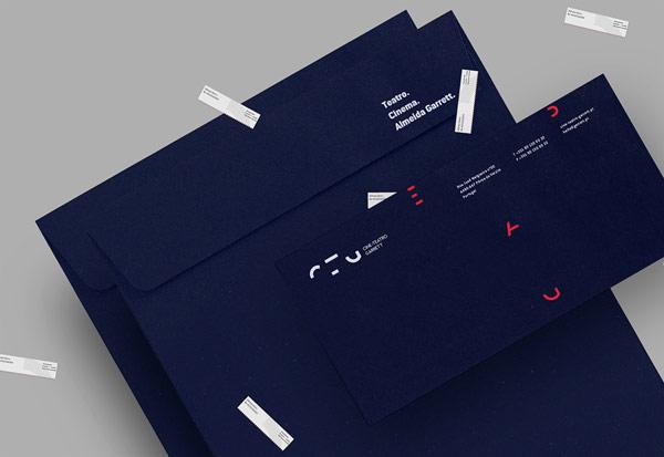 Blue envelopes in different sizes.