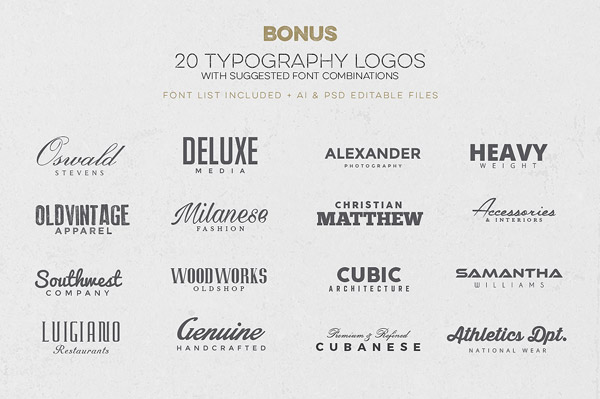 In addition, the kit is packed with lots of bonus items such as 20 typography logos plus suggested font combinations.