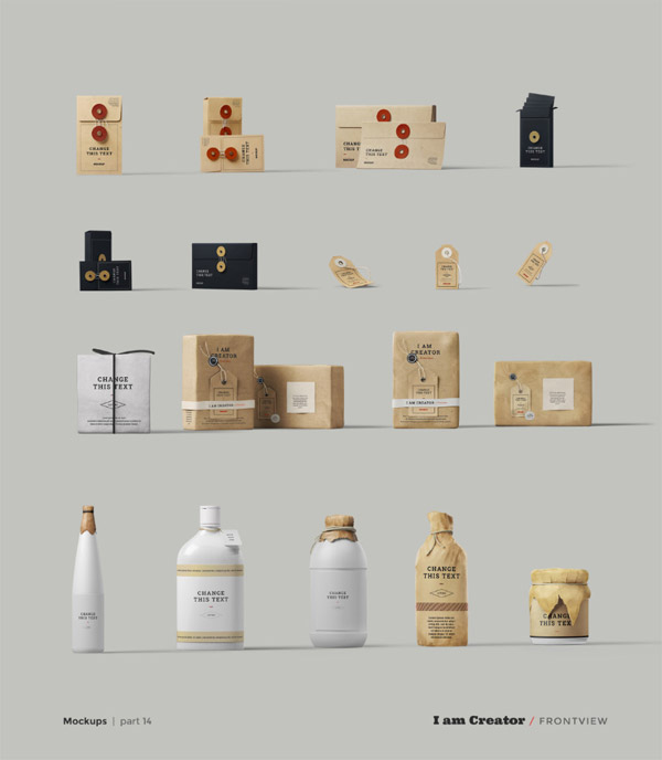 More examples of stylish branding and packaging mockups.