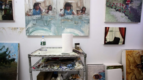 A view inside his studio.