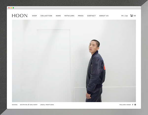 Home page of the HOON online shop.