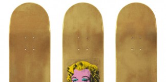 Andy Warhol – Gold Marilyn Monroe skateboard decks.