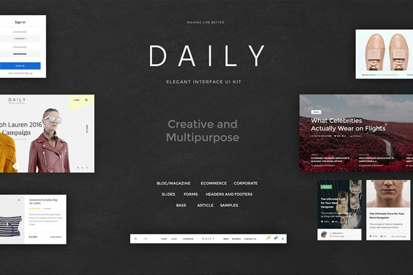 The Daily UI Kit from Creanncy is a very large set of elegant UI elements for mobile and web design.