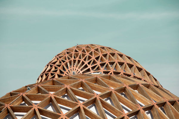 The round structures of a pavilion at the Milan Expo in 2015.