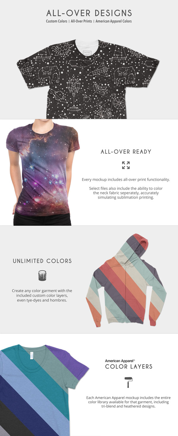 With unlimited colors, every mockup includes all-over print functionality.
