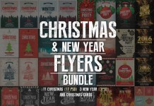 An extensive Christmas and New Year flyers bundle for graphic designers.