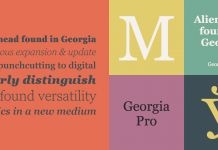 The Georgia Pro font family is the serif companion to the sans serif screen font, Verdana.