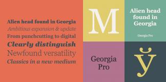 The Georgia Pro font family is the serif companion to the sans serif screen font, Verdana.