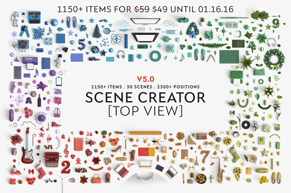 This extensive top view scene creator from the team of Qeaql is equipped with over 1150 items, 50 scenes, and more than 2300 positions.