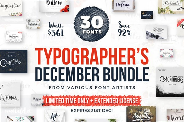 Typographer's December Dream Bundle with 30 fonts.
