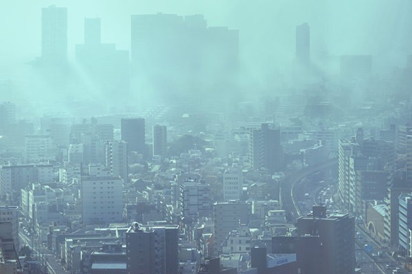 View over a smoggy city.