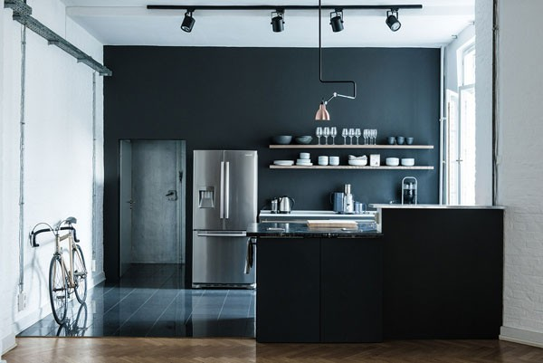 The stylish and modern kitchen design of the living loft and music studio.