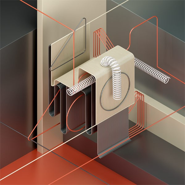 An isometric digital artwork created with 3D software.