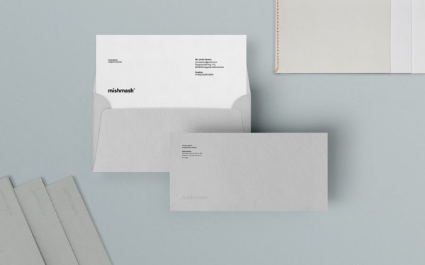 Just like the full visual identity, the design of the envelopes follows a clean branding concept.