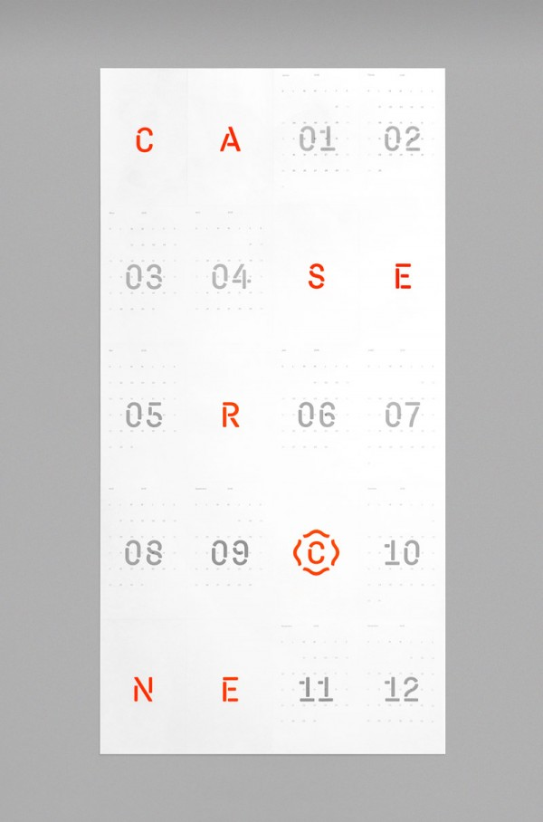 The clean typography of the 2016 calendar project.