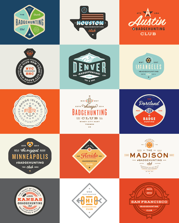 The whole collection of vintage badges created by Allan Peters.