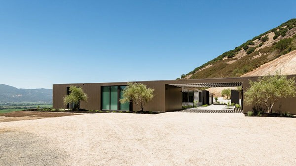 This modern home offers beautiful views over the vineyards of California's Napa Valley.