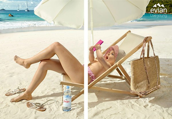 Images from Evian's funny advertising campaign.