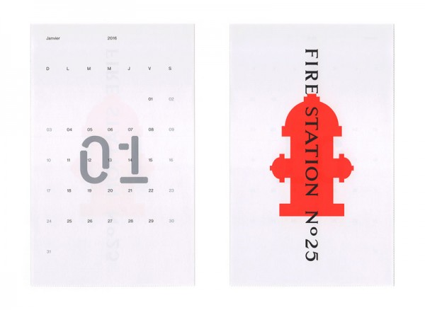 The 2016 calendar is based on the local signage of Montreal's fire stations. Design for the month of January. The designers of studio Caserne used a stencil typeface for the numbers of each day.