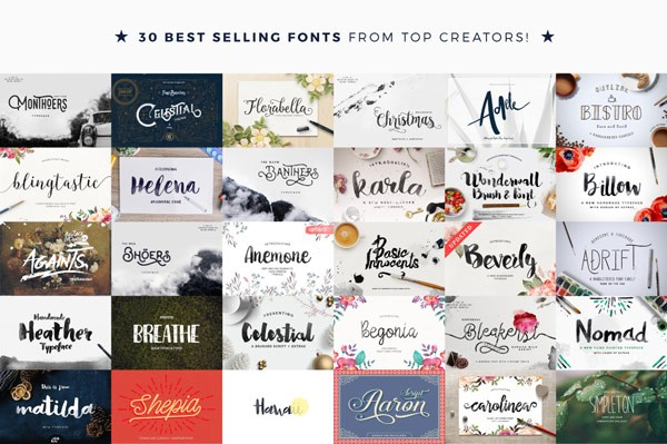 30 best selling fonts from top creators.