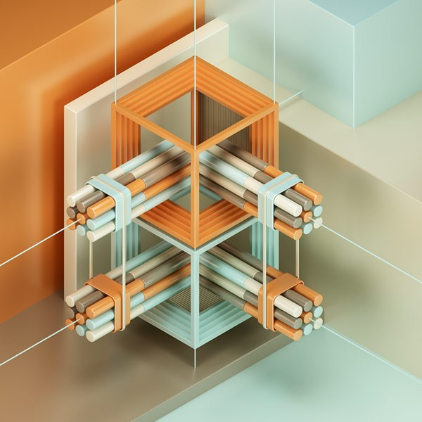 An abstract sculpture and composition in an isometric environment.