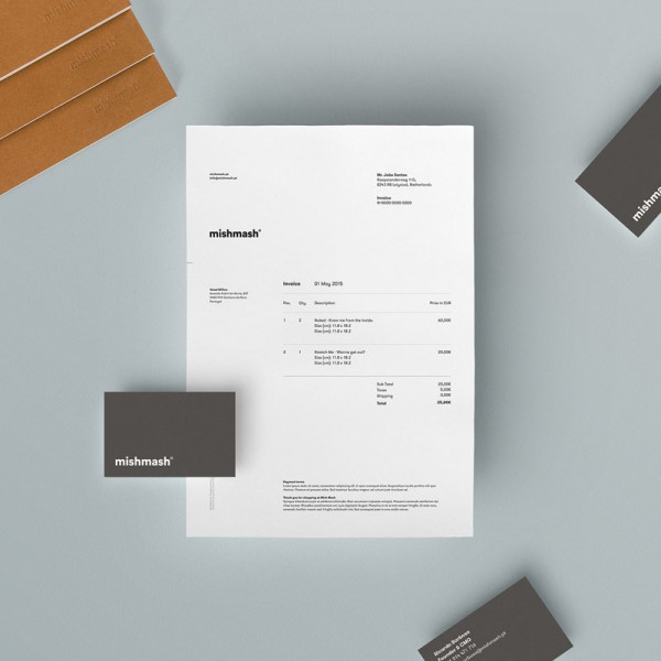 The mishmash® stationery and business cards. The color palette is mainly based on plain white with gray.