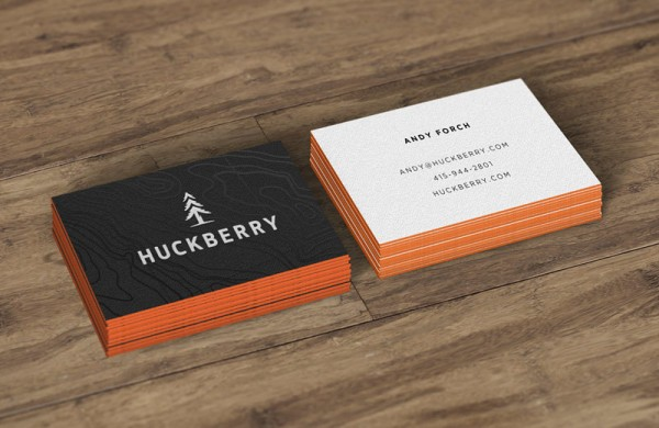 The two-sided Huckberry business cards.
