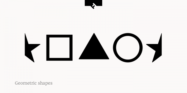 This serif font family is also equipped with numerous geometric shapes.