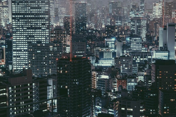 View of a nocturnal Tokyo.