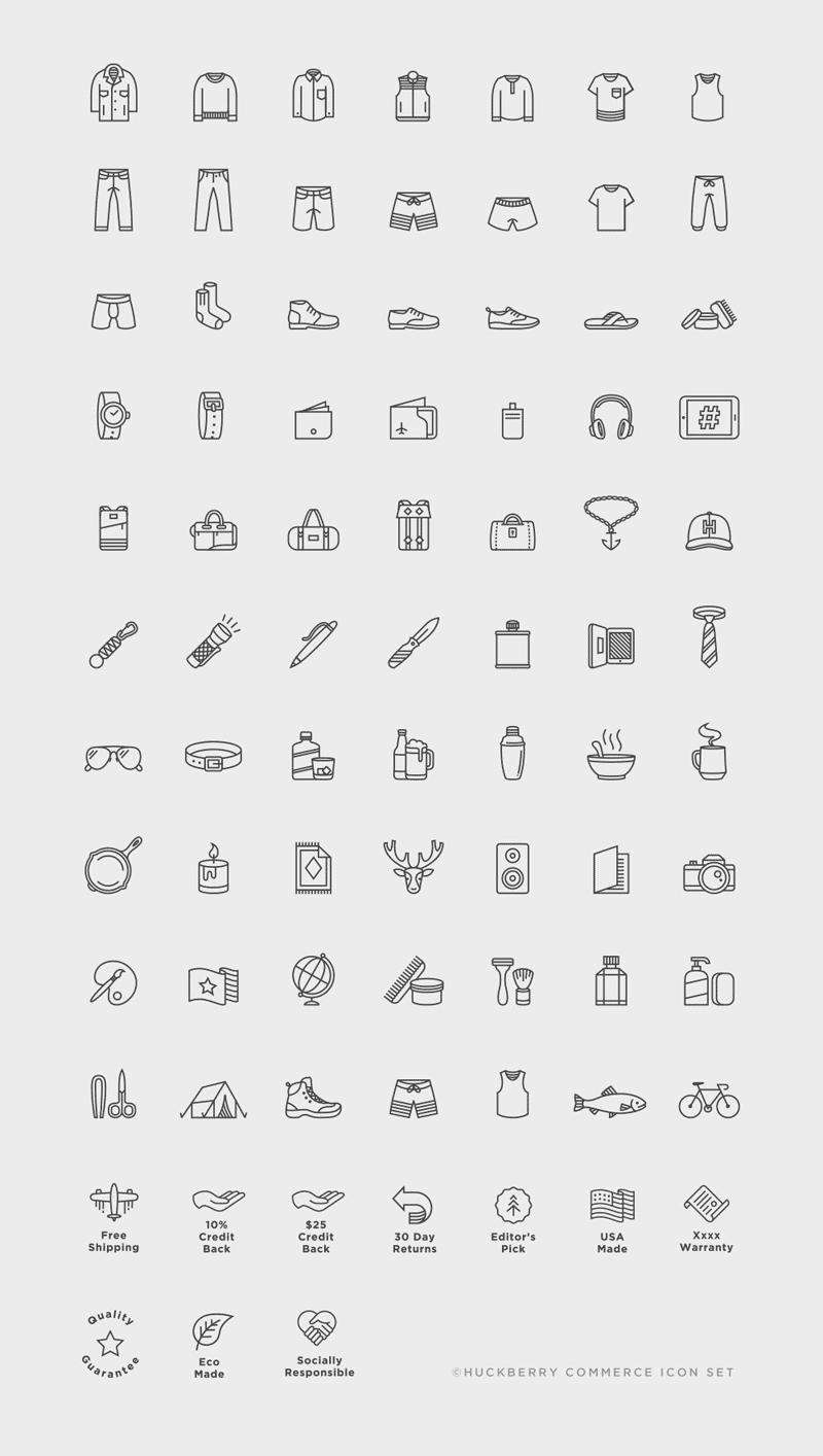 The Huckberry commerce icon set.