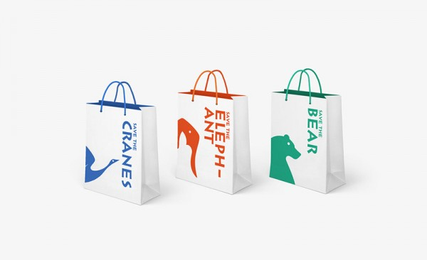 Paper bags in three color versions.
