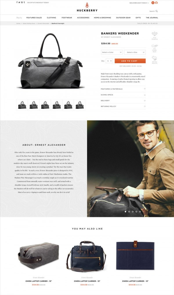 Product detail page of the new online shop system.