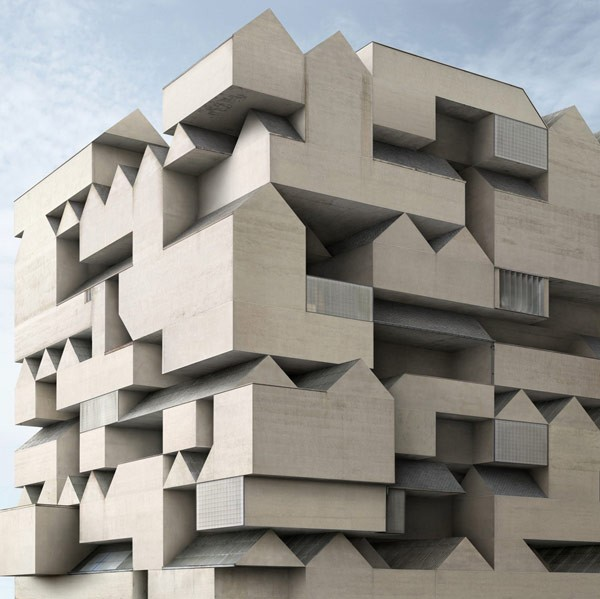 A surreal composition of architectural shapes.
