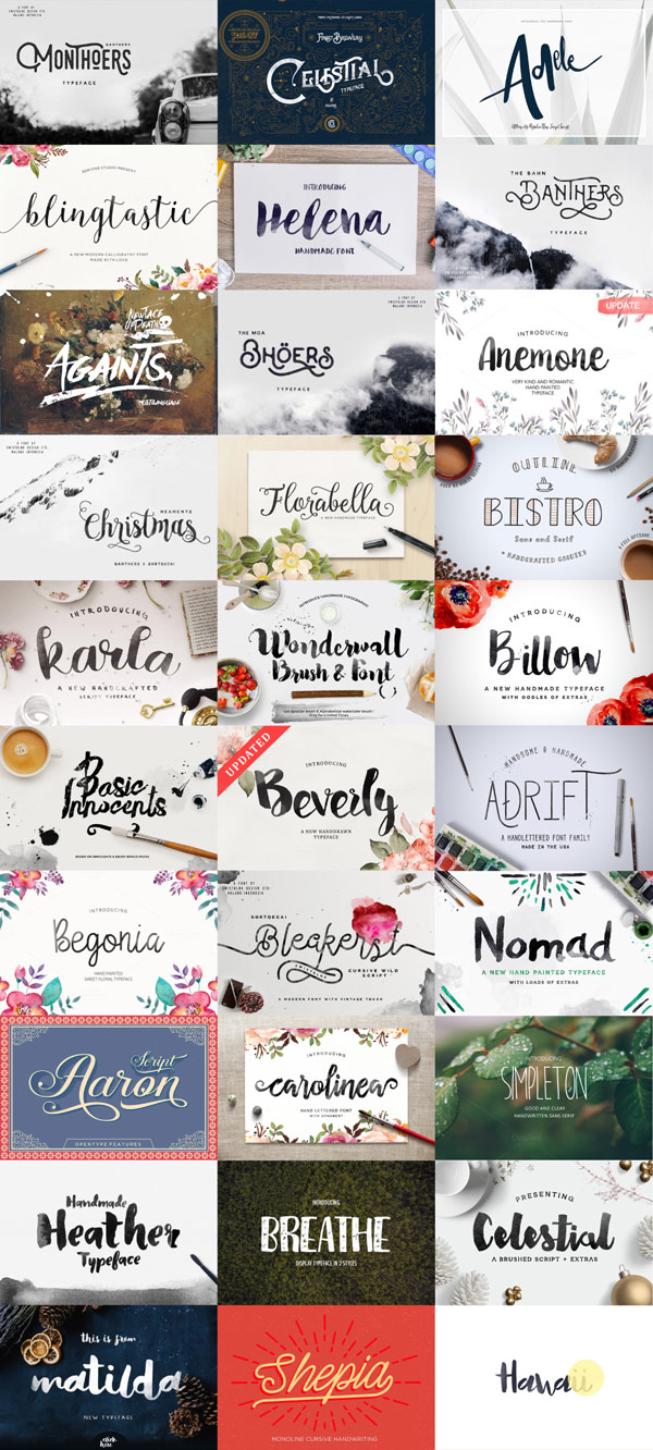All included typefaces of the big december bundle.
