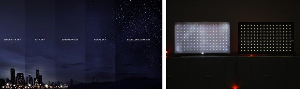 Light pollution artwork and LCD TV vs. LG OLED TV.