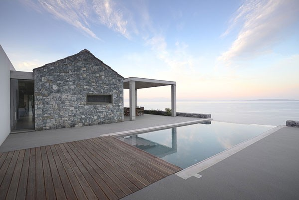 Villa Melana, a modern country house with great sea views in Tyros, Greece.