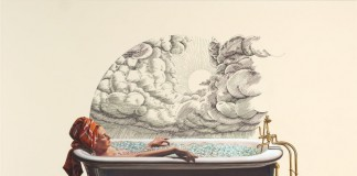 Cryogenics Afterlife, a selfportrait where the artist enjoys an icy beauty bath with closed eyes in a tub, keeping her cool.