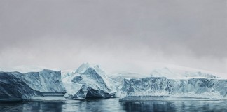 Deception Island, Antarctica – drawing by Zaria Forman from 2015 in the size of 72x128.