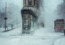 Flatiron Building captured by Michele Palazzo at New York City's record-breaking snowstorm in January 2016.