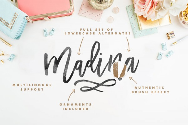 The Madina Script font is equipped with lots of extras such as included ornaments, an authentic brush effect, a full set of lowercase alternates, and multilingual support.