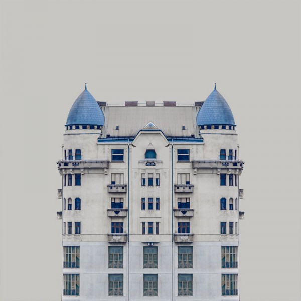 The buildings look like still lifes; perfect sculptures without any human life.