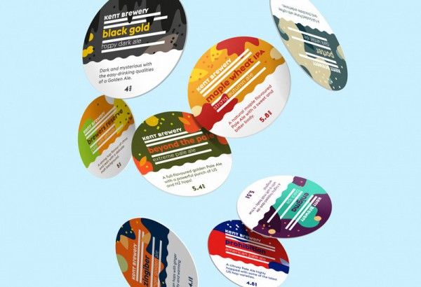 A range of new colorful coasters for the Kent Brewery.