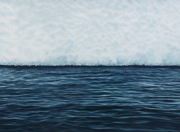"Lemarie Channel, Antarctica – work from 2015 with soft pastel on paper in the size of 44""x60""."
