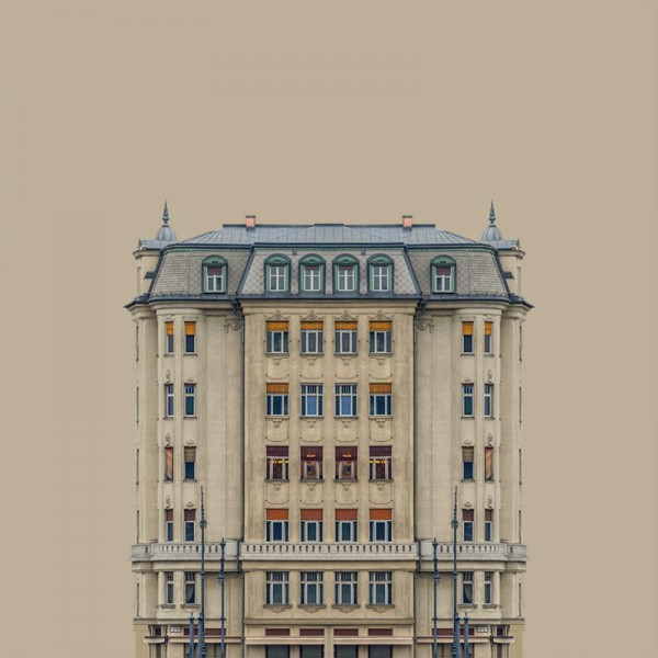 The series includes images of old buildings on the banks of the river Danube.
