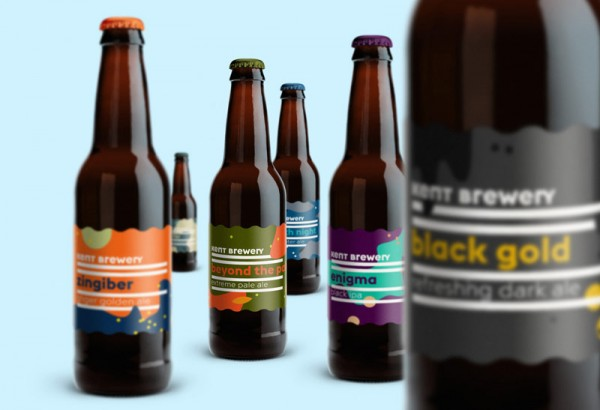 Some of the beer bottles with the new colorful labels.