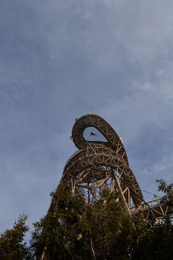 The Sky Walk features a mesh floor that allows brave visitors to lay at the peak of the structure.