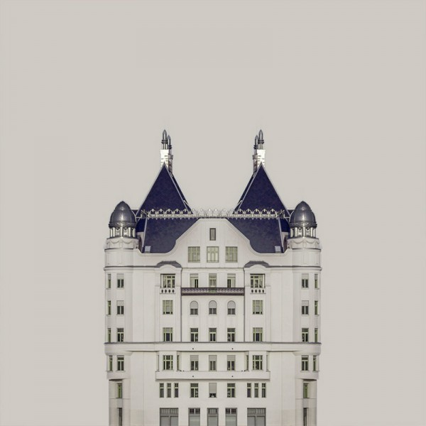 Zsolt Hlinka has separated each image from the original surroundings in order to put them on a uniform background matching the color of the buildings.