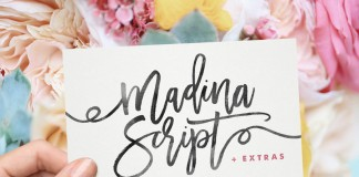 Madina Script, a feminine handwriting typeface by Sam Parrett, a British graphic designer.