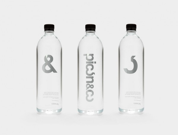 The custom logotype has been printed on several promotional items like these water bottles.