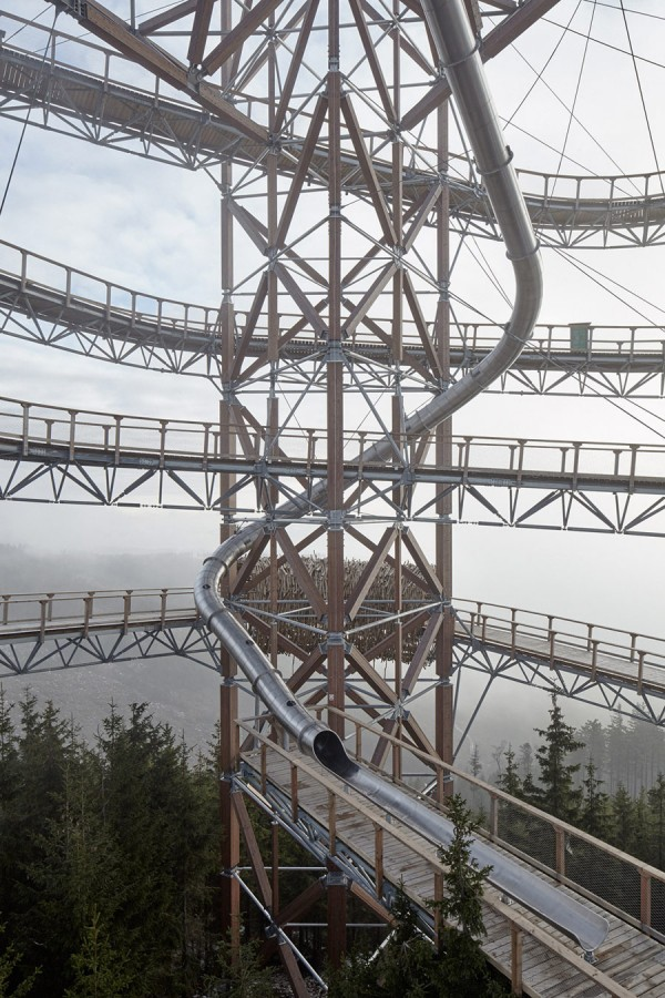 The walkway also features a 330 foot slide within its core.